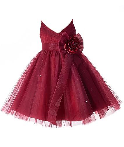 1e012e7ba2 Amazon.com  Mrprettys Girls Burgundy Tulle Flower Girl Dress Girls Party  Dress  Clothing