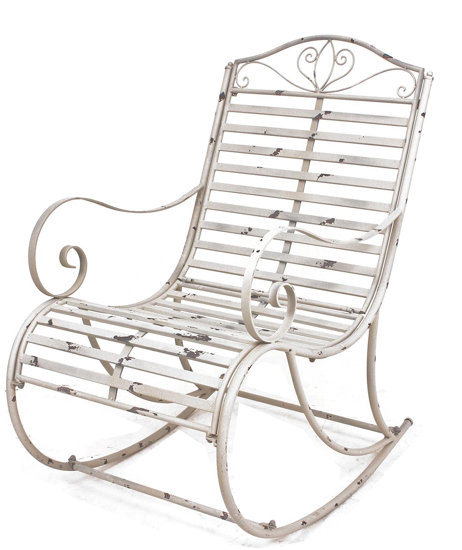 Schaukelstuhl Tambo aus weiß lackiertem Eisen im angesagten antik-Look