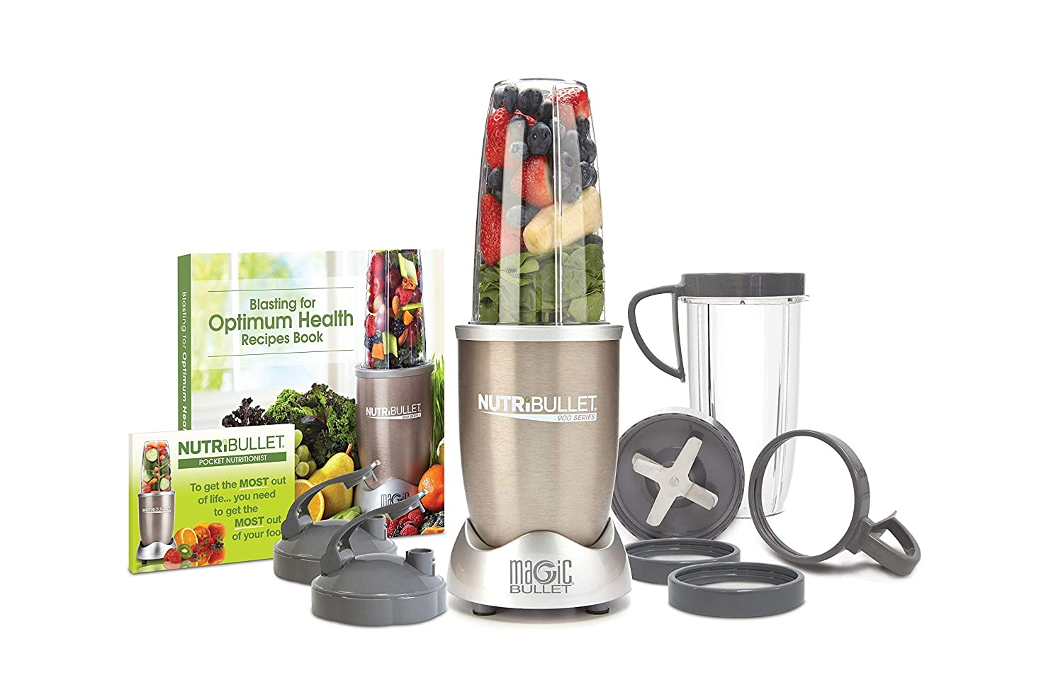 NutriBullet Pro - 13-Piece High-Speed Blender/Mixer System with Hardcover Recipe Book Included (900 Watts) (Certified Refurbished)