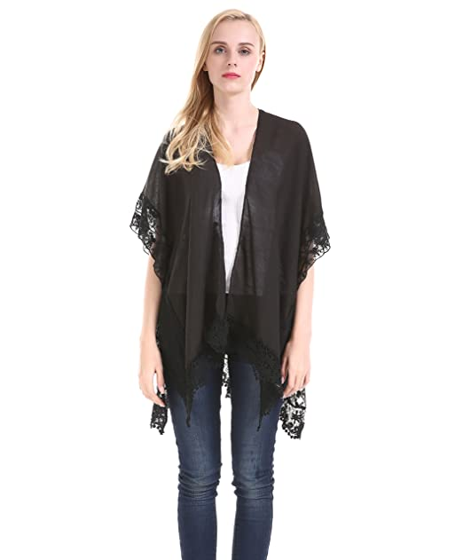 Women Black Lace Kimono sleeveless - Summer Sheer Cotton Beach ...