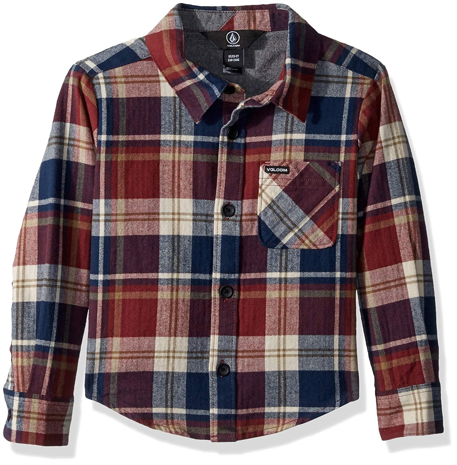 Volcom Little Boys' Caden Plaid Long Sleeve Flannel Button Up Shirt Y0541802