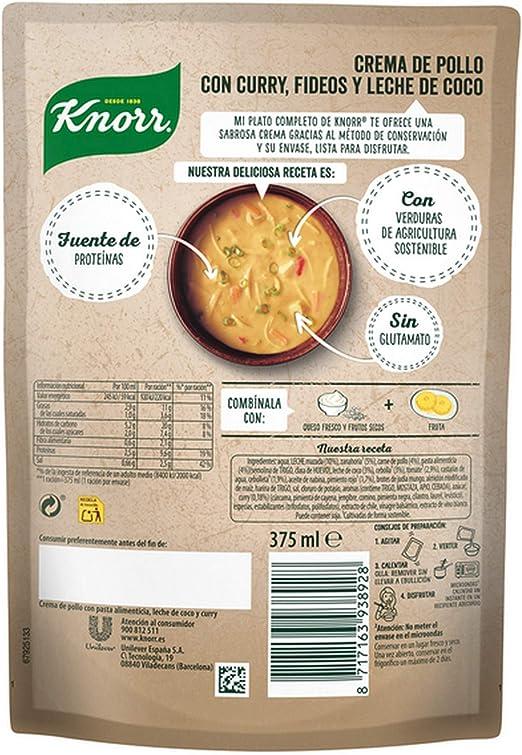 Knorr - Mi Plato Completo Crema de Pollo con Curry, Fideos y Leche de Coco, 375 ml