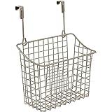 Spectrum 56377 Over The Cabinet/Drawer Grid Basket, Large, Satin Nickel