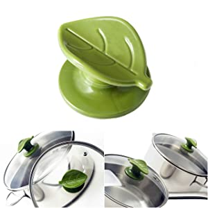 Wiizez Universal Crockpot Cookware Lid Knob Handle Replacement | With Practical Spoon Rest and Protective Hand Grip | (2-Pack) (Green)