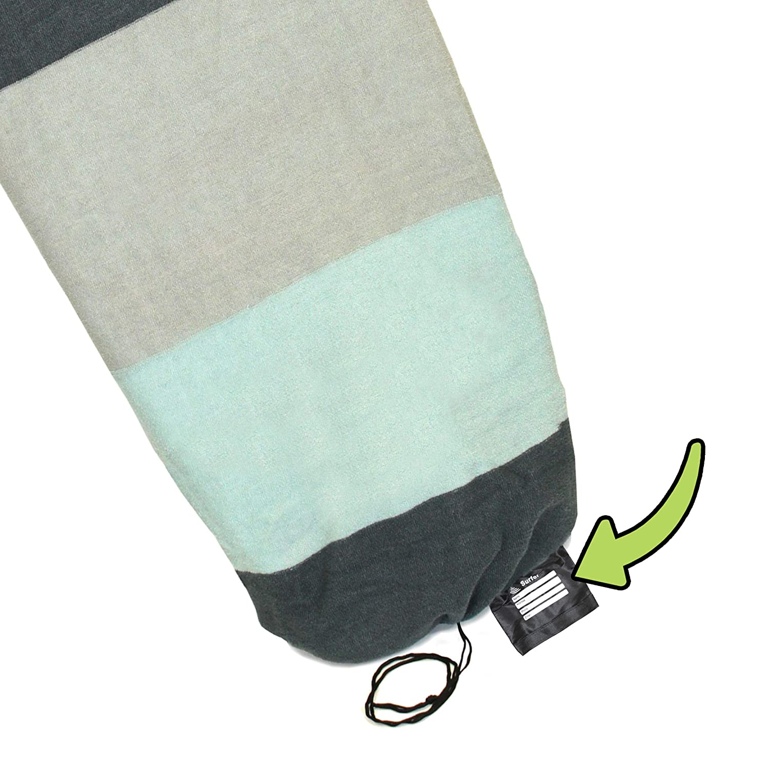 Tidal Wake TAG-IT Snub Nose Sea Foam Green /& Gray Wide Striped Surf /& Wake Board Sock Bag with Built-in Name Tag 58 Tag Your Bag Personalize with Your Name!