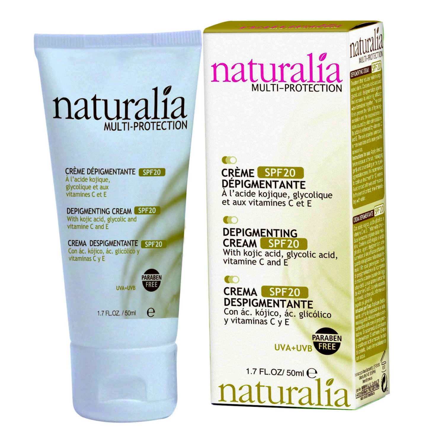 Amazon.com : NATURALIA Depigmenting Facial Cream with SPF 20 - new formula 50 ml : Beauty