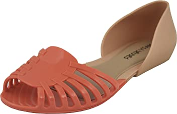 54983d63ad39 Mary Pepper Women s Jelly Cage Flat Beach Shoes