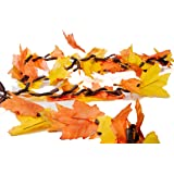 CraftMore Shades of Orange and Yellow Leaves with 100 Amber Lights, 9-Feet