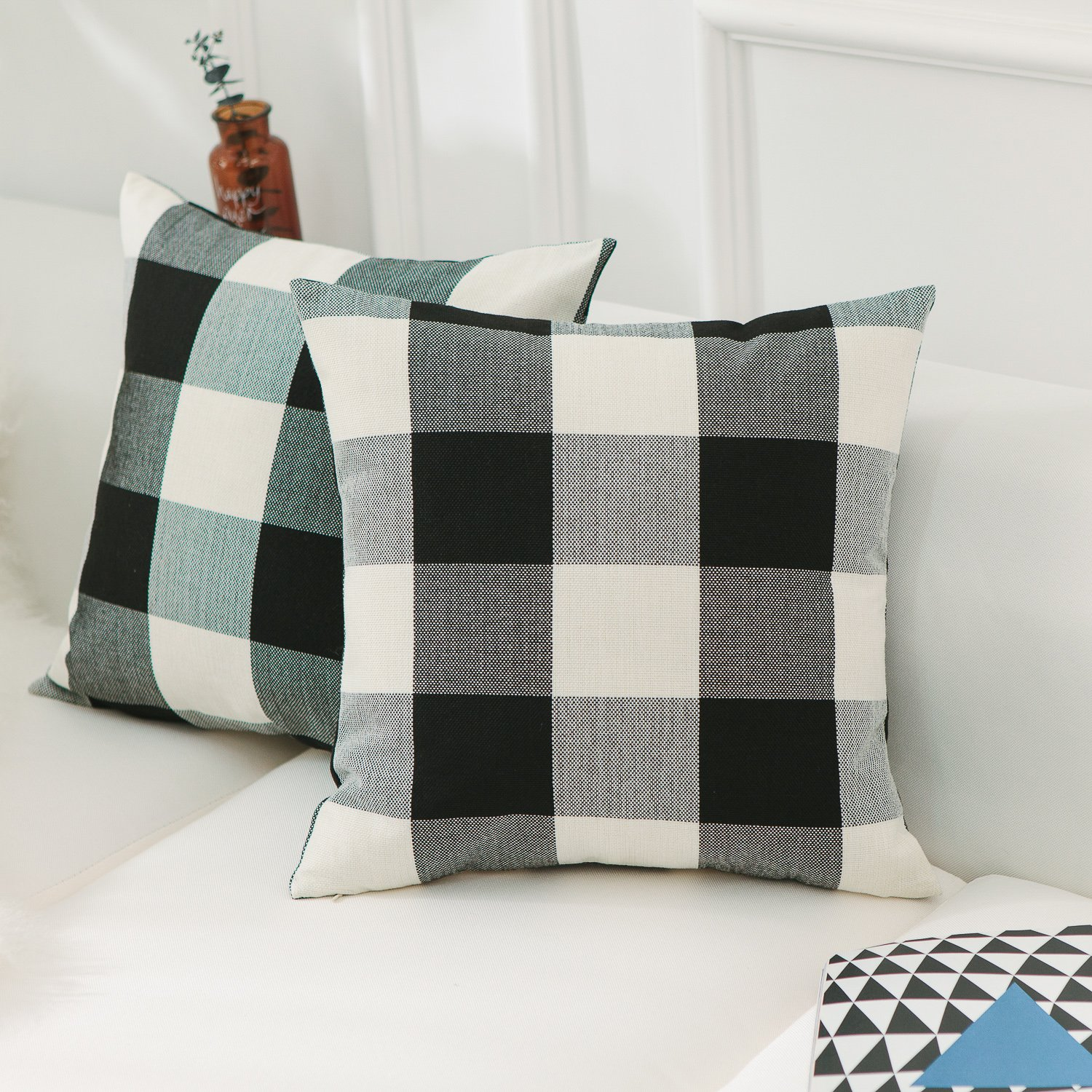 Home Brilliant Christmas Pillow Covers 18x18 Retro Farmhouse Tartan Checkered Plaids Cotton Linen Decorative Throw Pillow Case, Set of 2, Black White