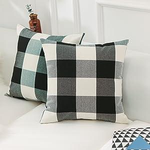 Home Brilliant Christmas Pillow Covers 18x18 Retro Farmhouse Tartan Checkered Plaids Cotton Linen Decorative Throw Pillow Case, Set of 2, Black White