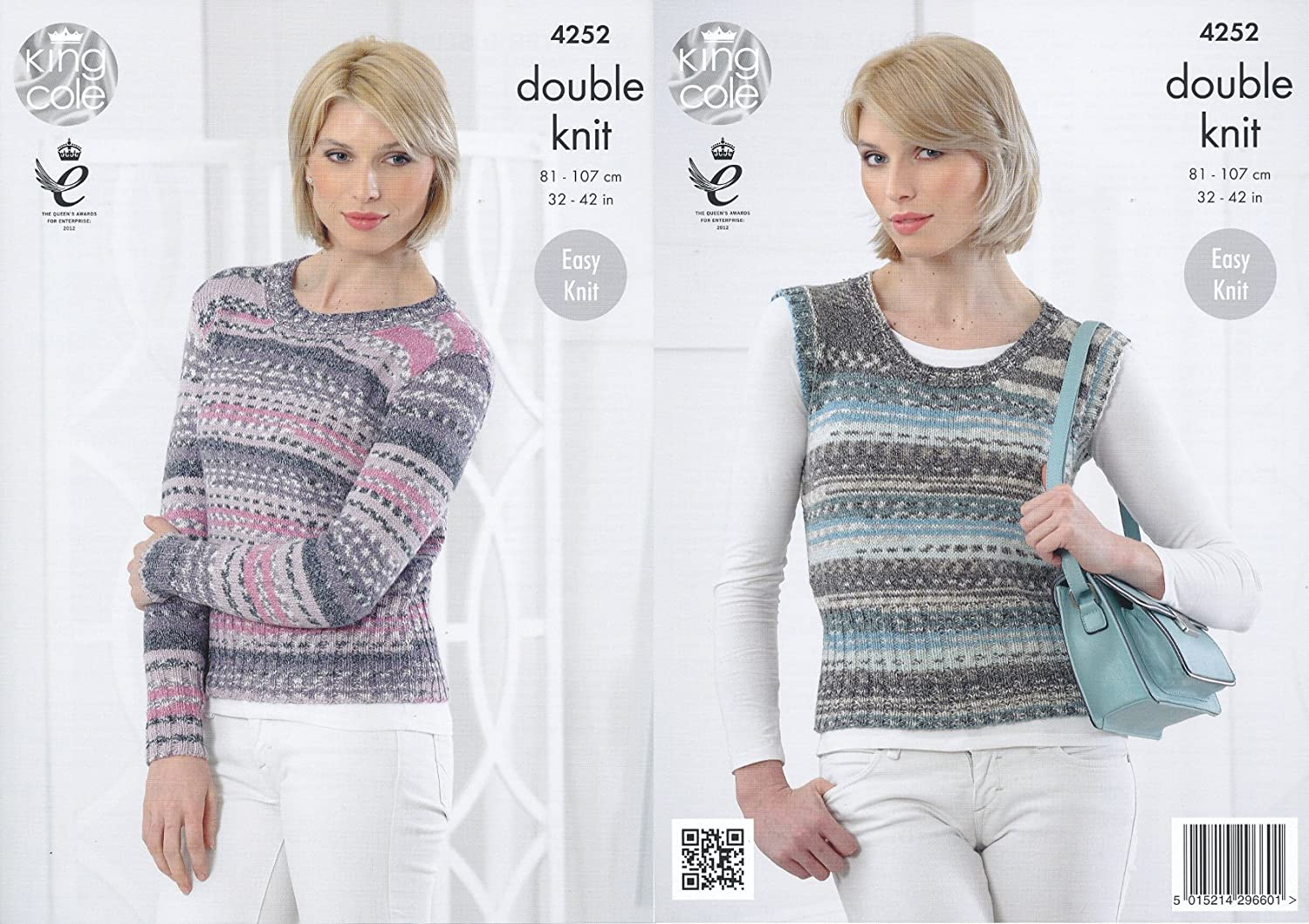 King Cole Ladies Double Knitting Pattern Womens Ribbed Detail Sweater & Pullover Drifter DK (4252) by King Cole