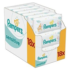Pampers - Sensitive - Lingettes Bébé - Lot de 18 Paquets de 56 (x1008 Lingettes)
