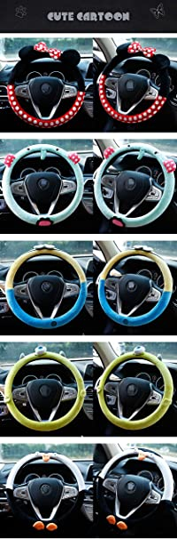 ZLCMMF Lilo Stitch Steering Wheel Cover Auto Car Accessories Universal 15 Inch Black