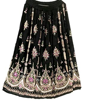 Dancer World Falda larga con lentejuelas, estilo bohemio, para ...