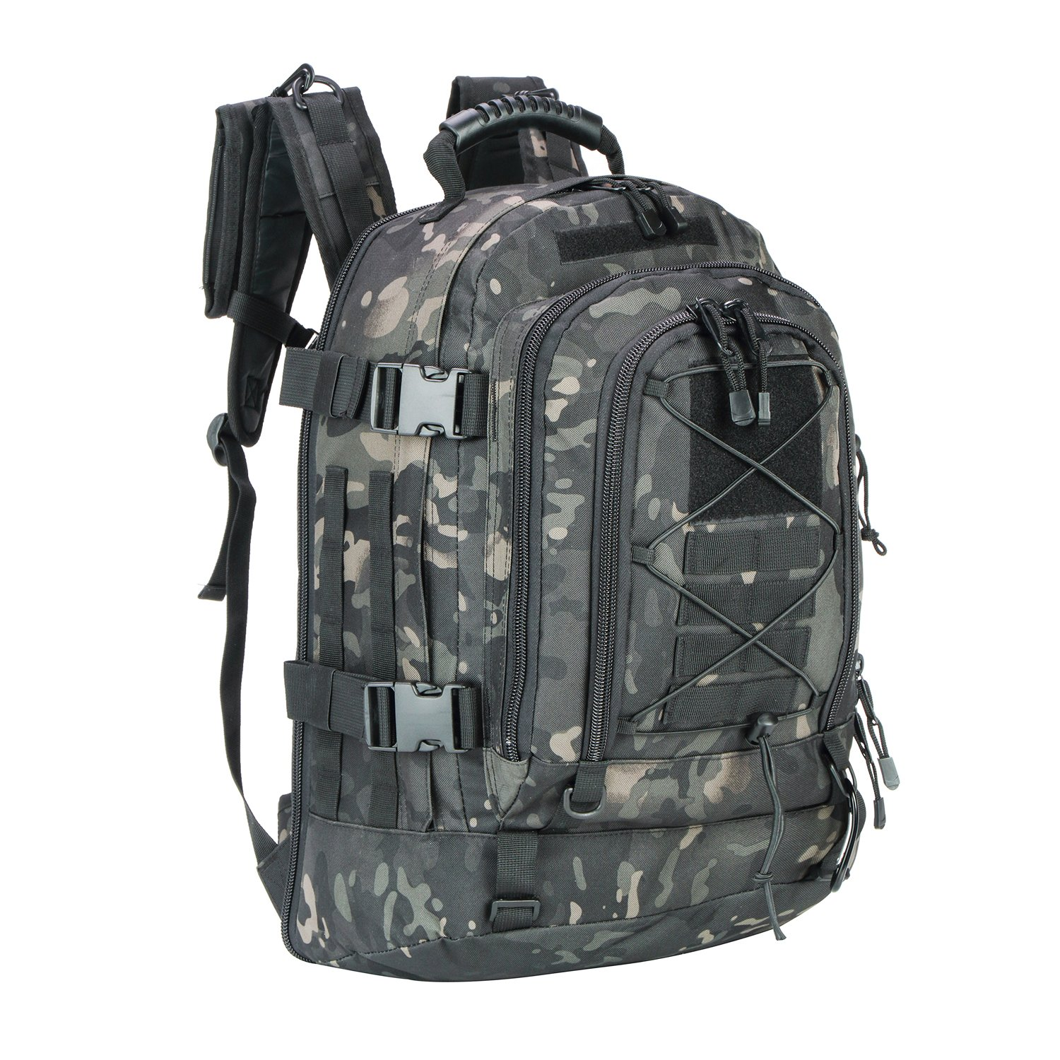 PANS Military Expandable Travel Backpack Tactical Waterproof Outdoor 3-Day Bag,Large,Molle System for Travel,Hiking,Camping,Trekking,Outdoor Sports,Work(Black-Multicam)
