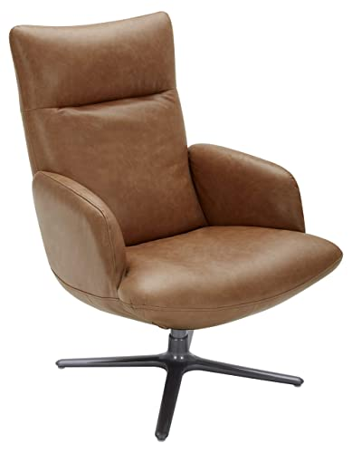 Rivet Blanchard Living Room Chair with Swivel Base, 40 H, Leather, Cognac