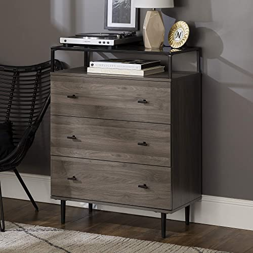 Walker Edison Modern Glass and Wood Accent Entryway Console Sideboard Living Room Storage Shelf, 3 Drawer, Slate Grey