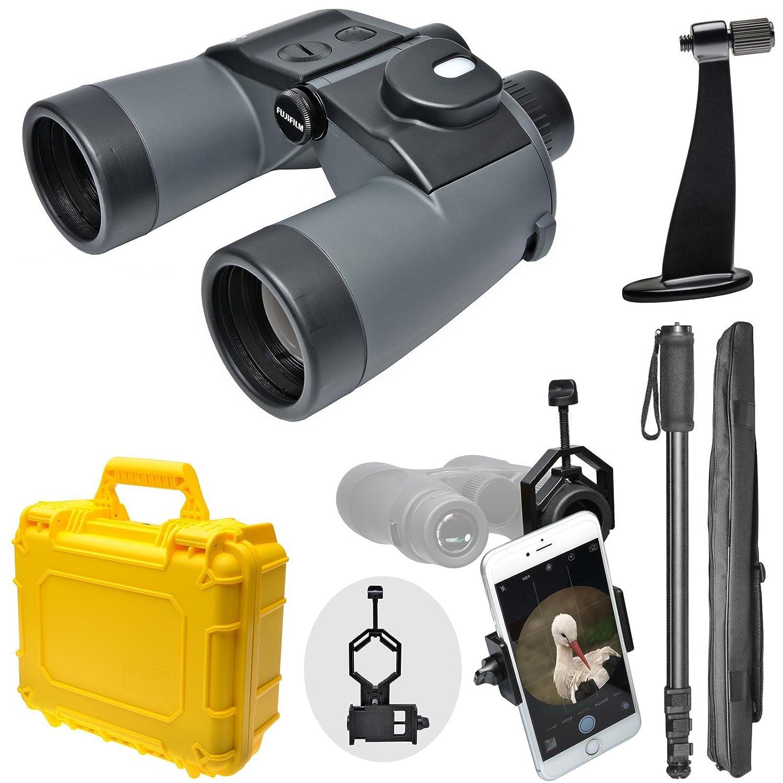 Fujifilm Fujinonマリナー7 x 50 wpc-xl防水/ Fogproof双眼鏡&コンパス+防水ハードケース+一脚+三脚アダプタ+スマートフォンアダプタ B01G5YAJBO