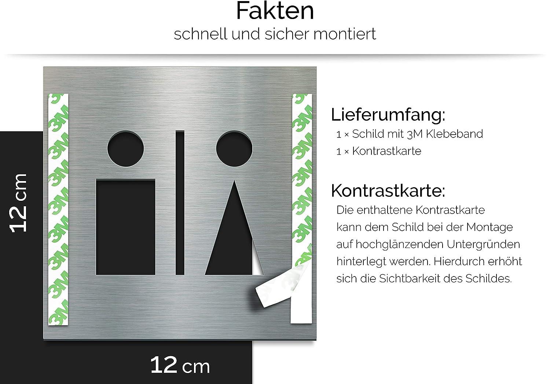 acciaio inox C.03.E Insegna WC pittogramma autoadesivo e facile pulizia Segno di design per toilette