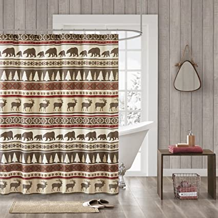 Madison Park Missoula Pattern Striped Fabric Shower Curtain Lodge Cabin Curtains For Bathroom