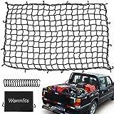 Warmfits 4フィートx6フィート スーパーデューティー トラック荷台用荷物ネット 8フィートx12フィートまで伸縮 16個の金属製Dクリップカラビナ Sサイズ 4インチx4インチのメッシュ ピックアップトラック、トレーラー、ボート、RVの荷物をしっかり固定