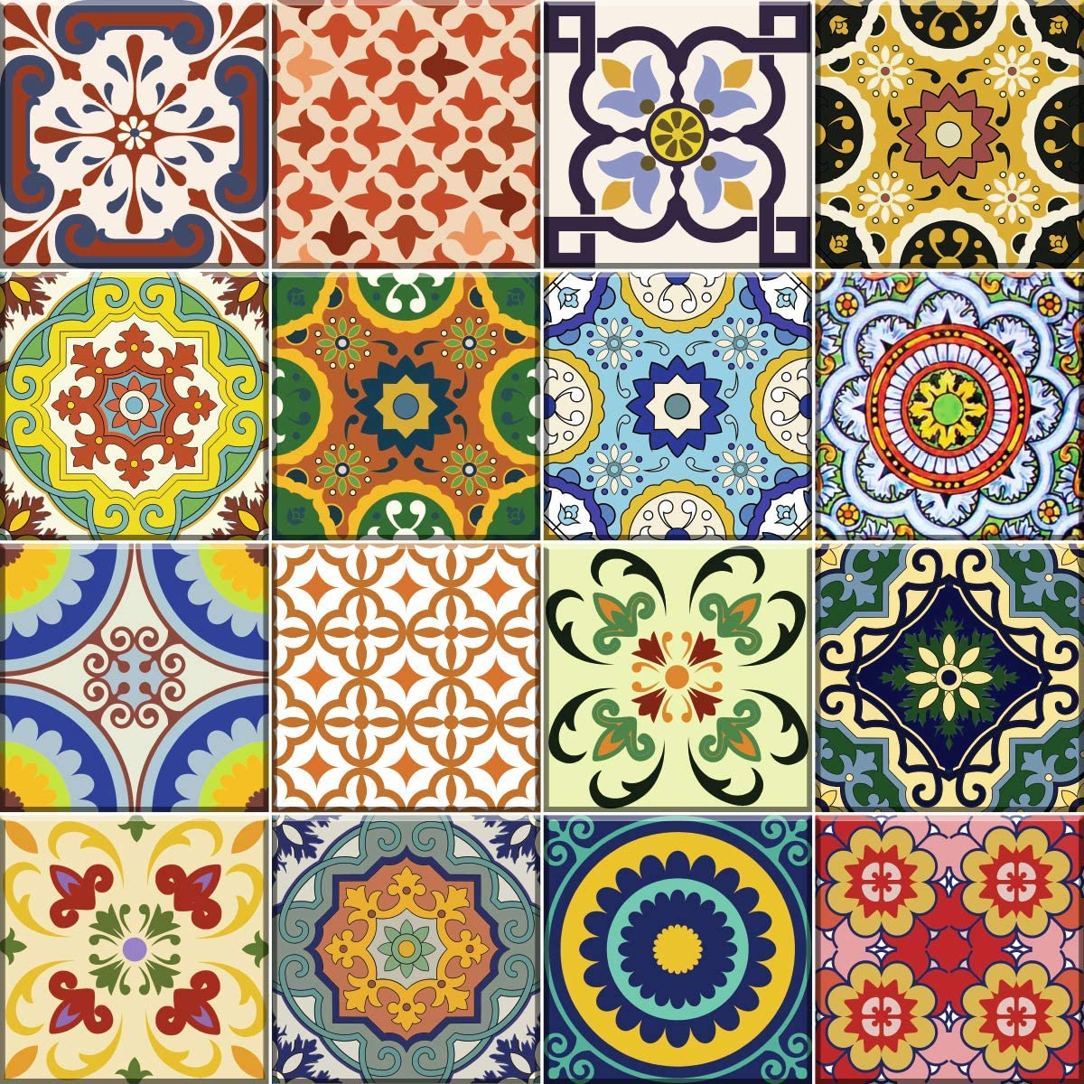 Mi Alma Tile Stickers 24 PC Set Traditional Talavera Tiles Stickers Bathroom & Kitchen Tile Decals Easy to Apply Just Peel & Stick Home Decor 6x6 Inch (Kitchen Tiles Stickers C1)