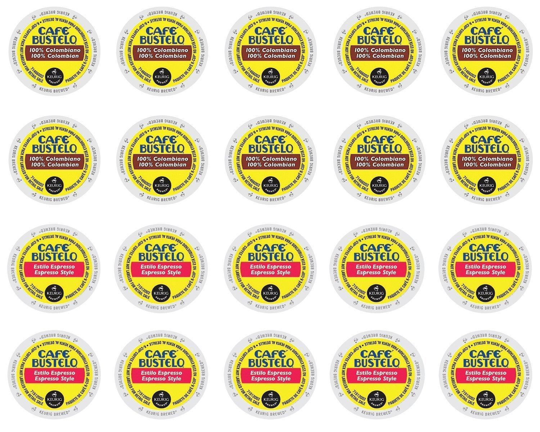 Cafe Bustelo - Espresso & 100% Colombian K-cup Sampler Pack for Keurig 2.0 - 20 Count / 2 Varieties