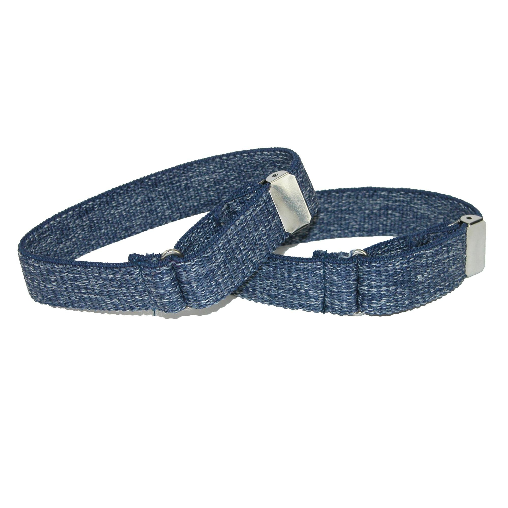 CTM Men's Elastic Denim Adjustable Armband Sleeve Garter, Blue