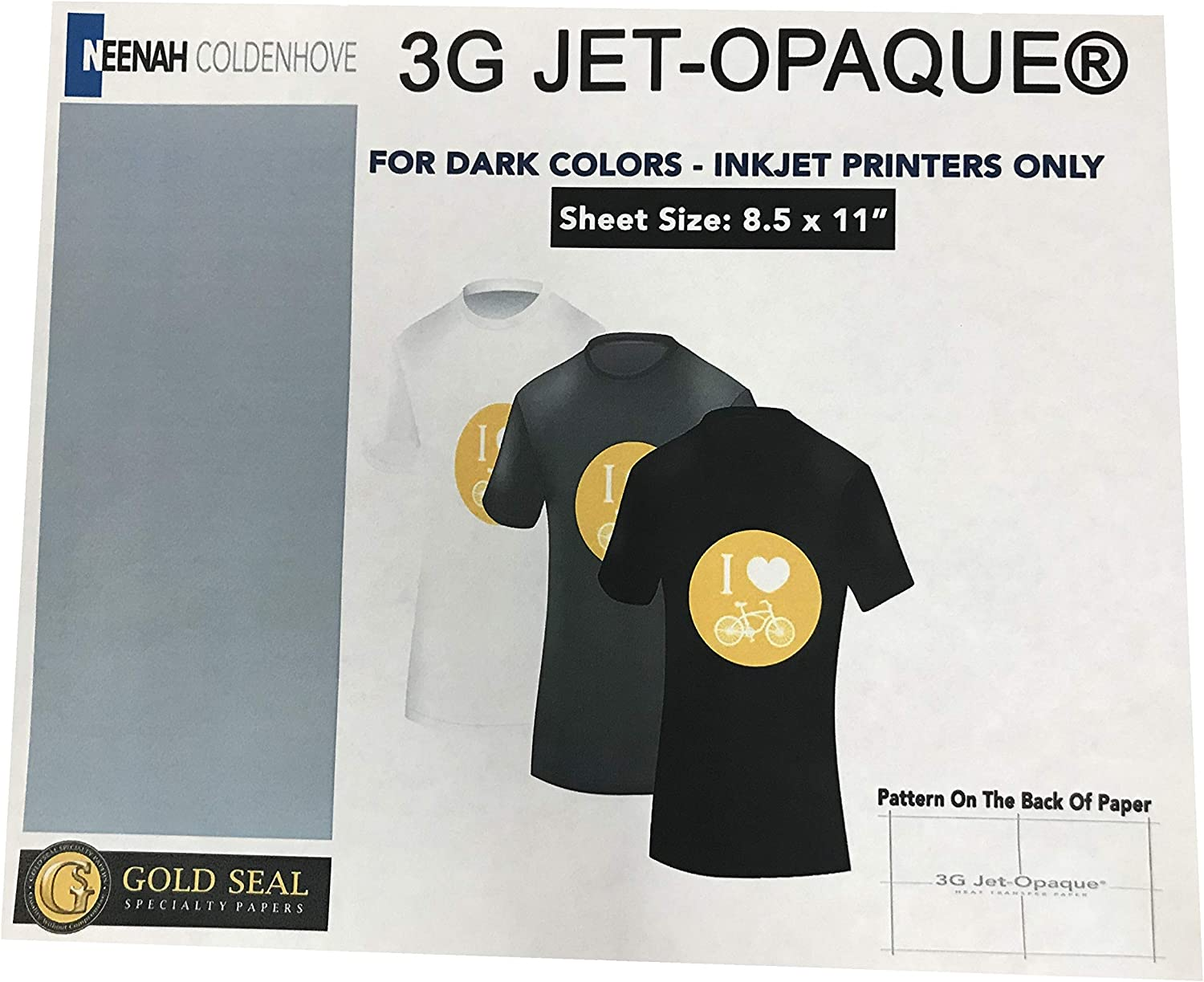 8.5 x 11-10 Sheets Sublimation Printing for Dark Cotton Fabric 3G Heat Transfer Paper