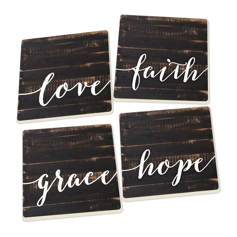 Love Faith Grace Hope Distressed Wood Look Set of 4 Ceramic Coaster Pack