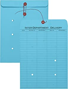 "Inter-Departmental Envelopes with String & Button Closure, 10"" x 13"" 1-Side, Blue, 100 per Carton (QUA63577)"