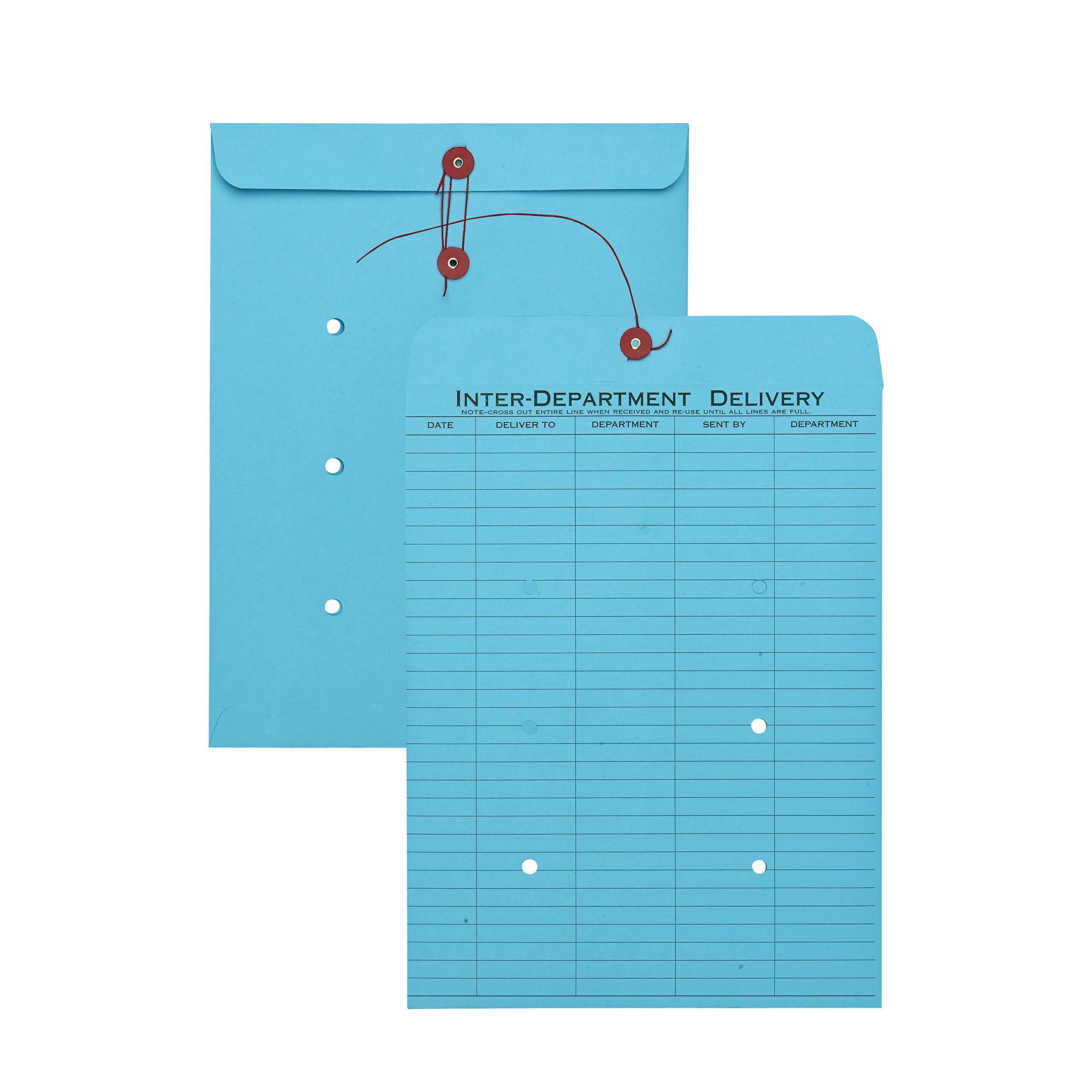 Quality Park QUA63577 String-Tie Interoffice Envelopes,1-Side Print, 10x13, Blue,100/Ctn