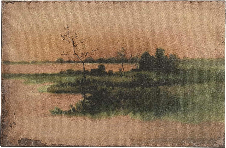 "Creative Co-op 18"" W Landscape Vintage Reproduction Canvas Wall Décor, Green"