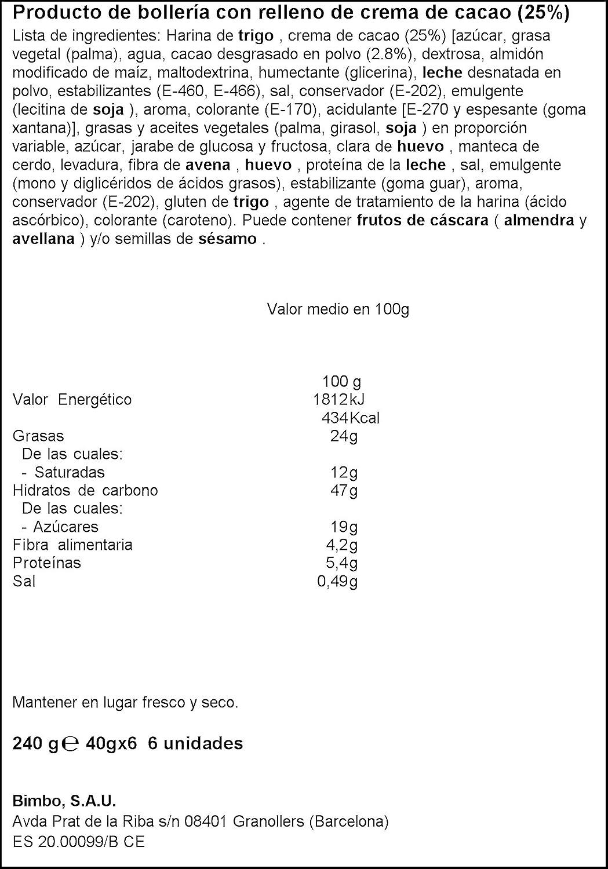 Napolitanas Bimbo, 6 uds - 240 gr: Amazon.es: Alimentación y bebidas