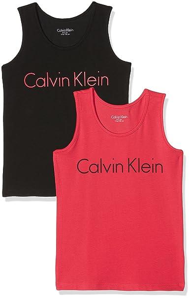 Calvin Klein 2 Pack Tank Tops, Top de Pijama para Niñas, (1 Raspberry