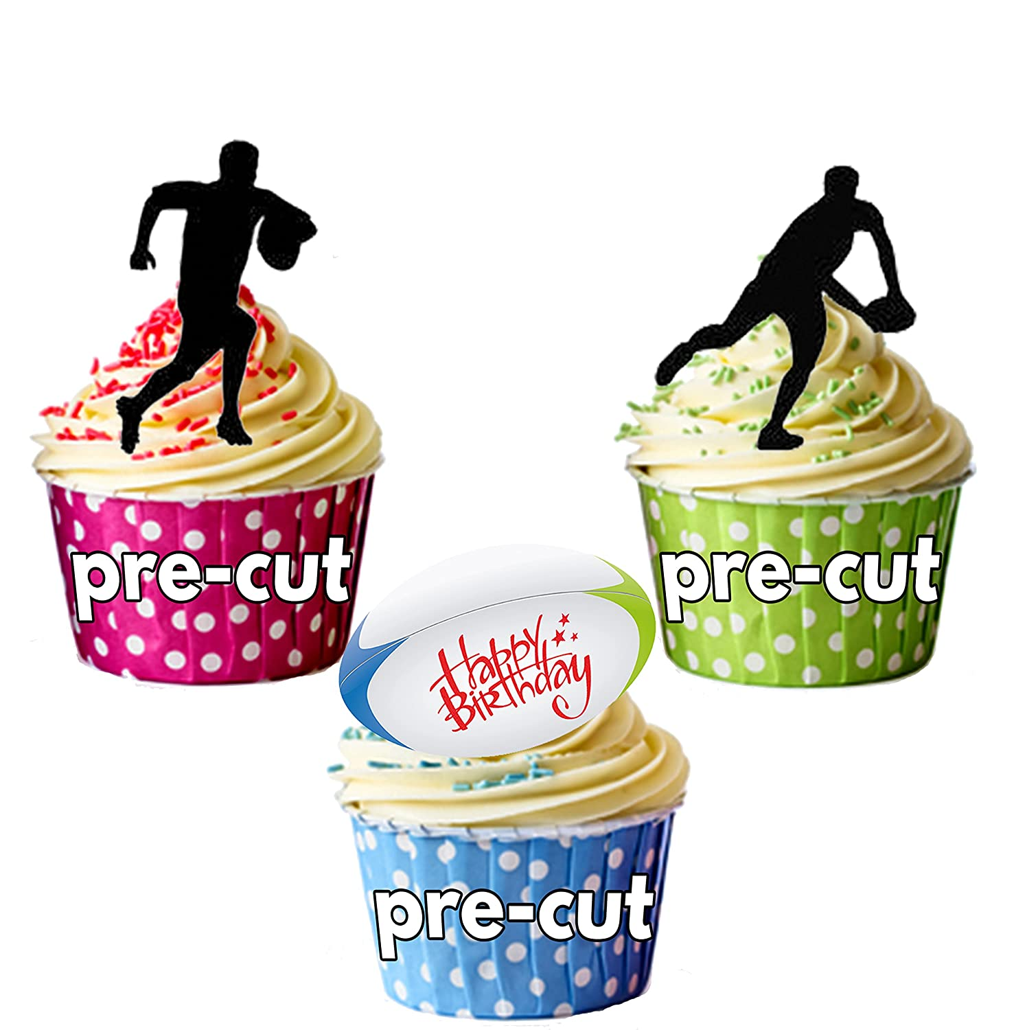 PRECUT Happy Birthday Silhouette Rugby Players Edible Cupcake Toppers Cake Decorations Pack Of 12 Amazoncouk Kitchen Home