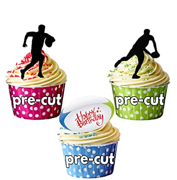 PRECUT Happy Birthday Silhouette Rugby Players Edible Cupcake Toppers Cake Decorations Pack Of