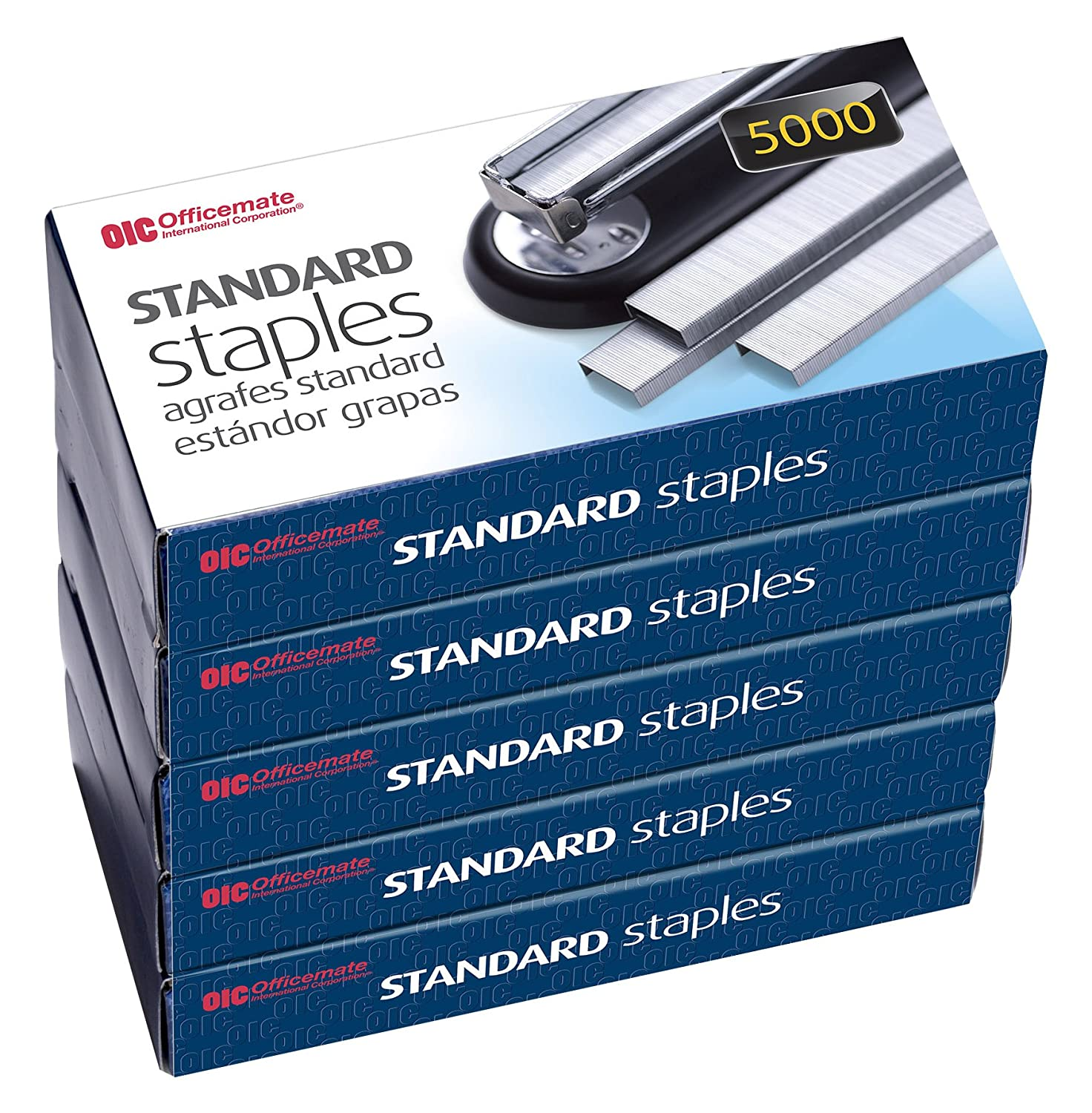Officemate Standard Staples, 210 per strip, 20 Sheets Capacity, 5,000 per Box, 5 Boxes (91900) - Bundle Includes a Letter Opener