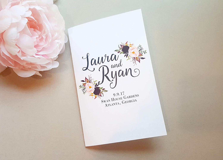 Amazon Com Wedding Ceremony Programs Floral Folded