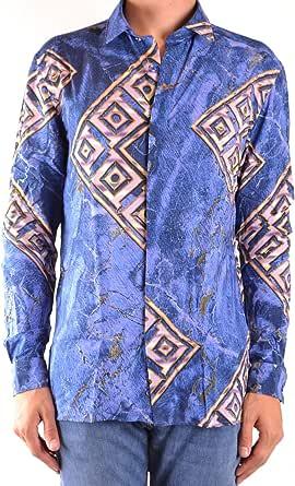 Versace Luxury Fashion Hombre MCBI38853 Azul Camisa ...