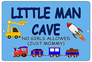 Rogue River Tactical Funny Little Man Cave Boys Bedroom Door Sign Metal Tin Sign Wall Decor No Girls Allowed Just Mommy