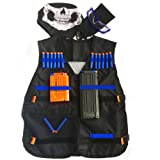 GFU Tactical Vest Jacket Kit with 16pcs Blue Darts + Protective Goggles Glasses + 5-darts and 11-Darts Quick Reload Clip + Face Tube Mask + Small Pendant(Gun not included)