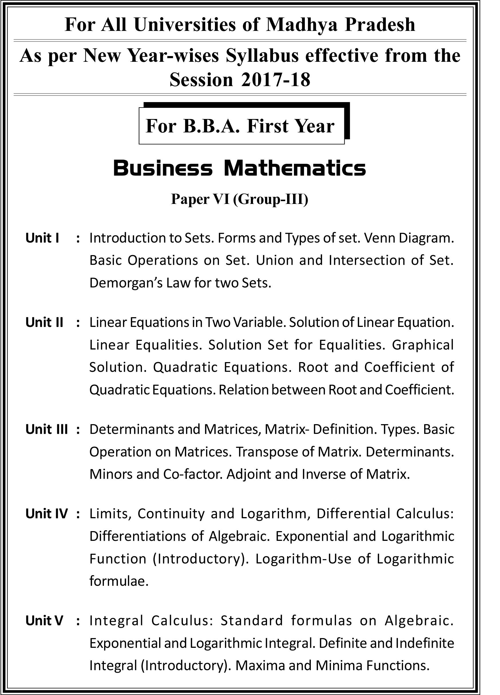 Buy BUSINESS MATHEMATICS Book Online at Low Prices in India