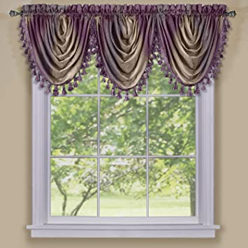 Green Curtains aubergine and green curtains : Amazon.com: Achim Home Furnishings Ombre Waterfall Valance ...