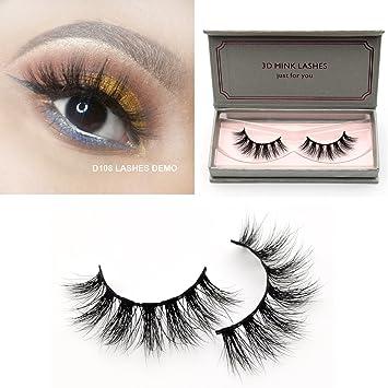 4af65ce6b8d Amazon.com : Visofree Lashes 3D Mink Eyelashes Long Lasting Mink Lashes  Natural Dramatic Volume Eyelashes Extension False Eyelashes (D108) : Beauty