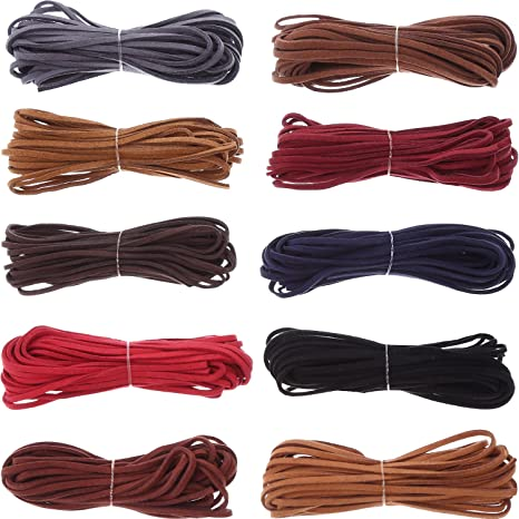 9110128046a5 10 Piezas 3 mm por 5 m Cuerda de Cuero para Fabricación de Pulsera Collar  Abalorios