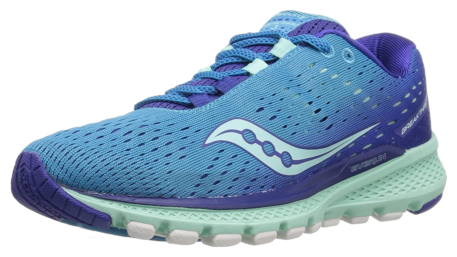 Saucony Women's Breakthru 3 Running Shoe B01N10GLPD 09.5 M US|Blue/Mint