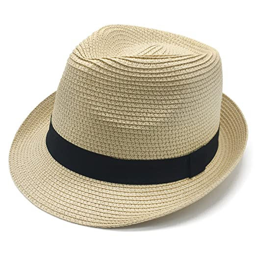 40ca30ed26c Womens Summer Panama Sun Beach Straw Hats Short Brim SPF Packable 55-57cm  Beige at Amazon Women's Clothing store: