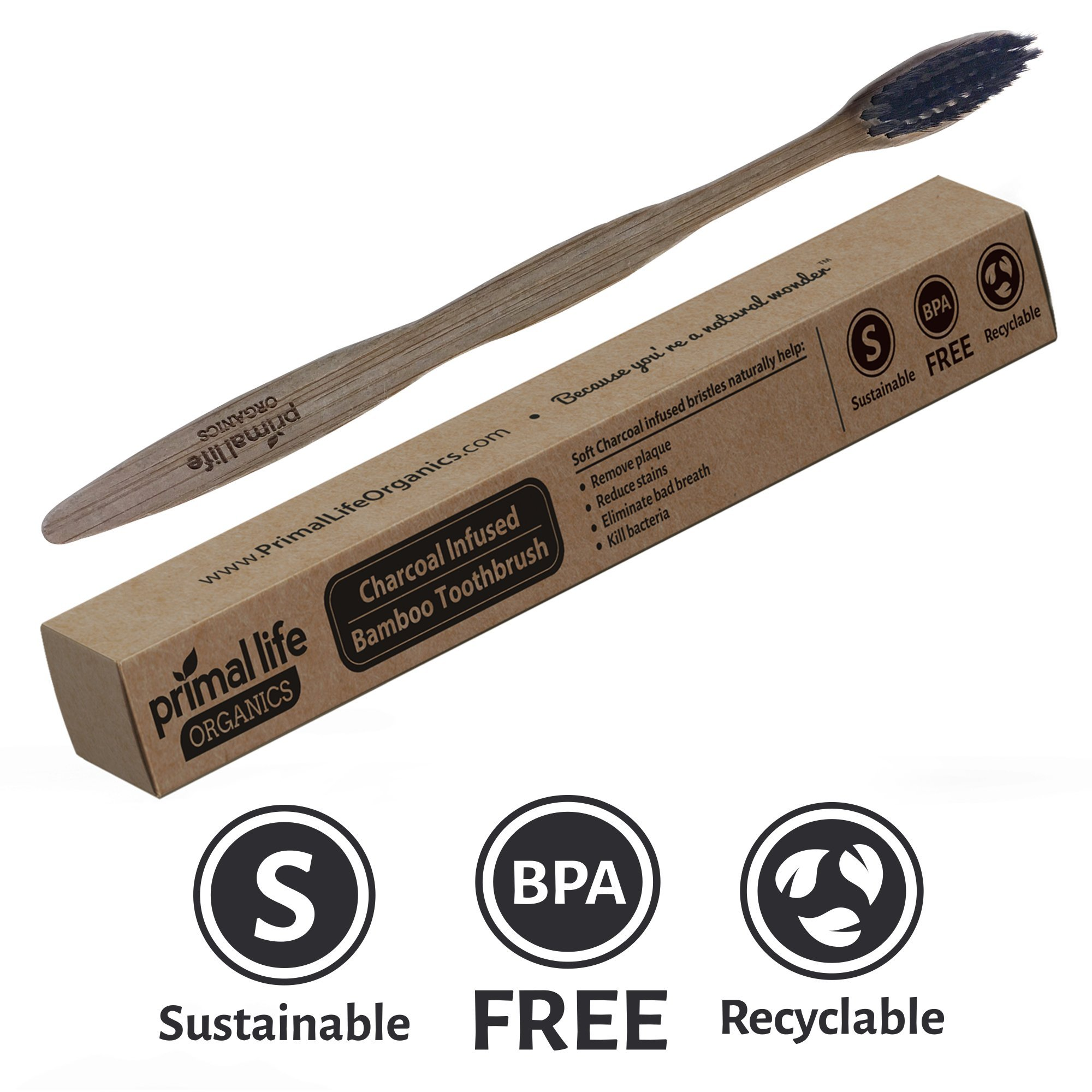 Charcoal Ion Toothbrush - Help Eliminate Bad Breath, Kill Bacteria & Reduce Stains - Clean, Detoxify, Whiten & Remove Plaque 100% Naturally! - Primal Life Organics
