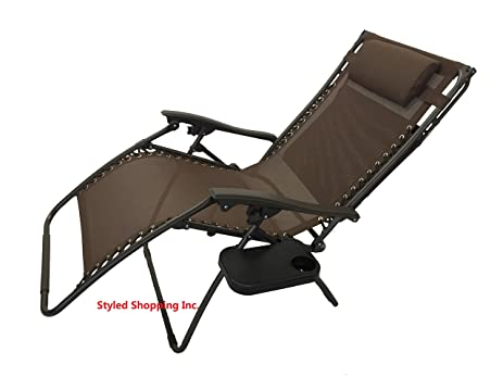 extra wide oversized brown zero gravity chair with canopy tray
